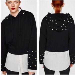 Zara Knit | Cropped Pearl Hooded Sweatshirt